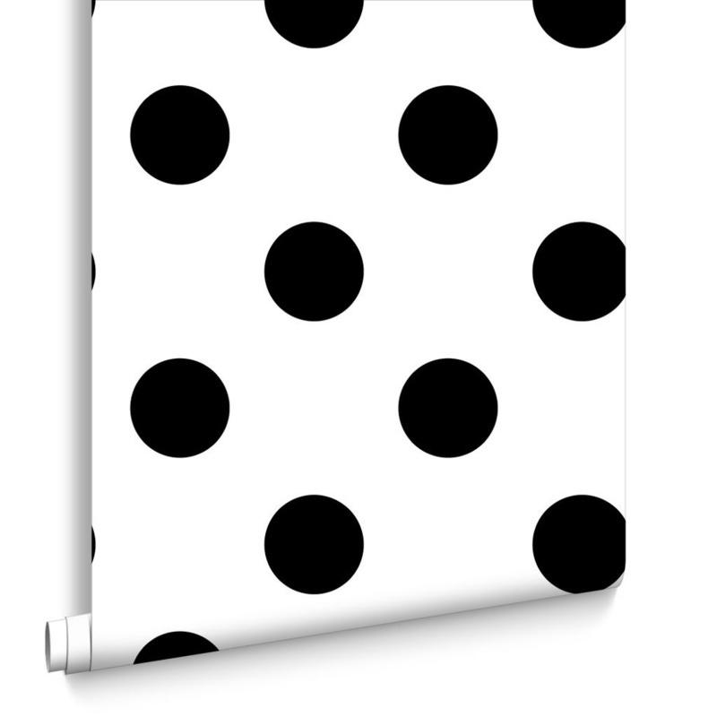 Verbazingwekkend Zwart wit stippen behang 100104 behangpapier retro stippen NV-06