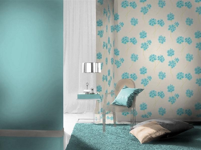 bloemen behang blauw creme xx4