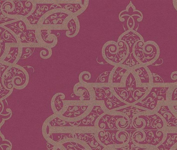 785449  rood goud barok behang