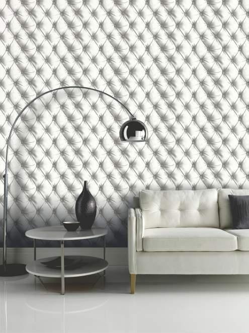 Super 3D chesterfield behang Desire behang 618102 | Wit | onlinebehangpapier FZ-17