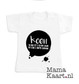 Baby  t-shirt korte mouw | Naam en geboortegegevens | Splat!
