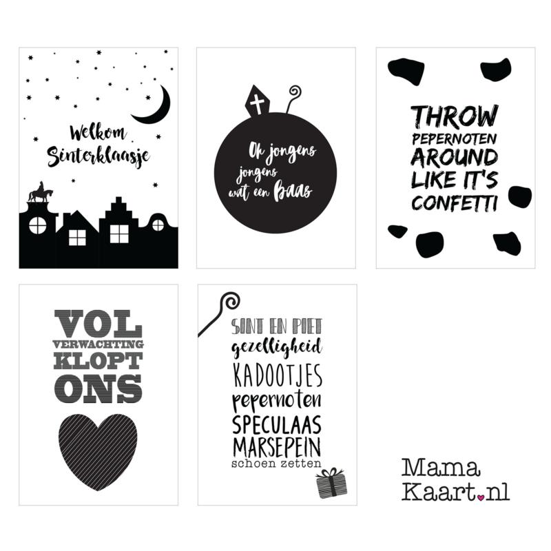Sinterklaas kaarten zwart wit - set van 5 stuks