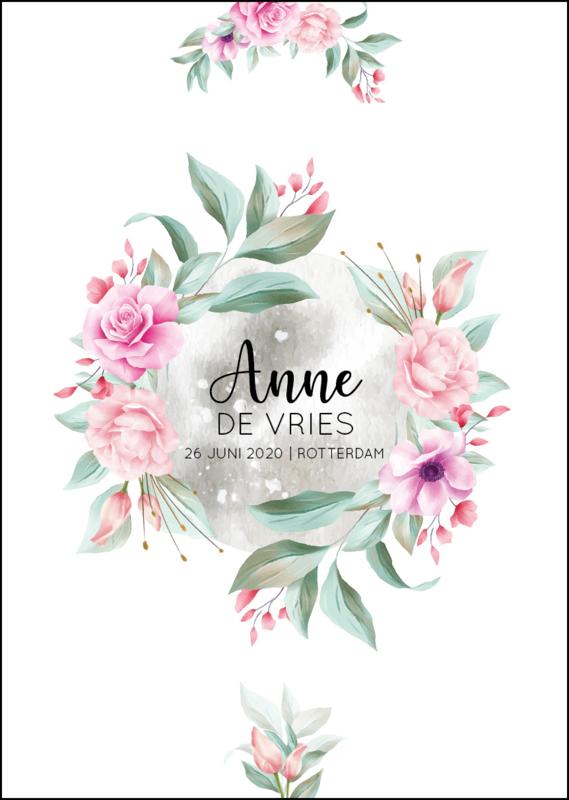 Geboorteposter - Bloemen