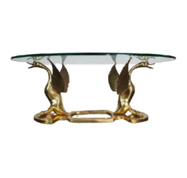 VINTAGE BRASS SWAN COFFEE TABLE