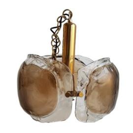 GLASS CHANDELIER MURANO AMBER BY KAISER 1960