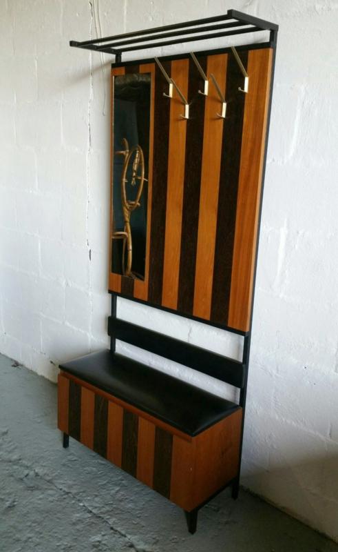Vintage Houten Klepbank.Retro Kapstok Garderobe Verkocht Woonzonden