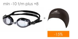 Combi deal: Zwembril op sterkte + Zwemcap