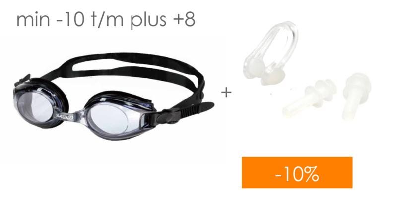 Combi deal: Zwembril op sterkte + Neusclip/Oordoppen