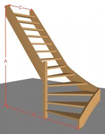 Onderkwarttrap open van 254 t/m 294 cm