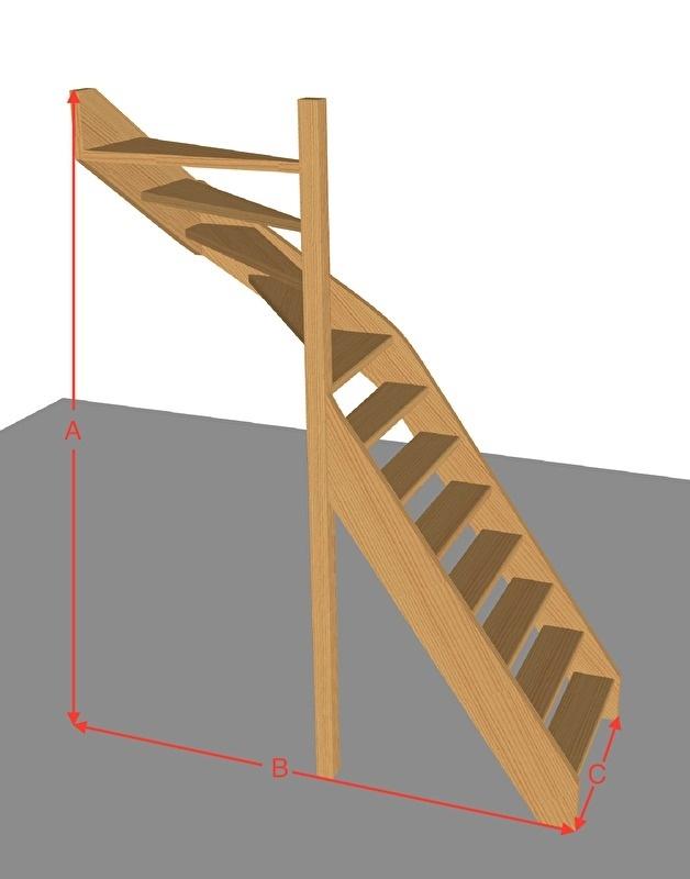 Bovenkwarttrap open van 254 t/m 294 cm