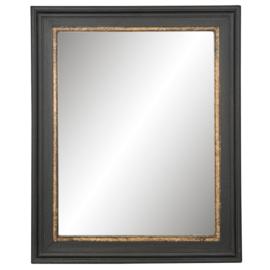 Brocante Spiegel met mooie zwart en goudkleurige rand