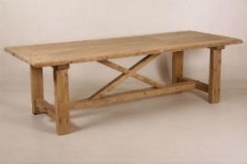 Eettafel met kruispoot, massief eikenhout 90 x 200 cm