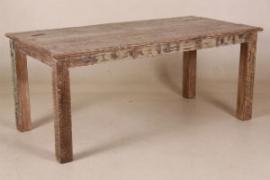 Eettafel van sloophout, strak model 90 x 180 cm