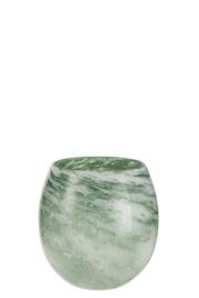 Vaas rond, dik glas, groen wit -  Small - Merk J-Line