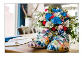 Bruidsboeketten afgestemd op de accessoires