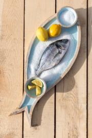 Schotel vis mango hout pastel blauw