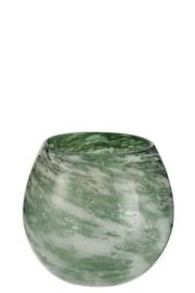 Vaas rond, dik glas, groen wit - Large - Merk J-Line