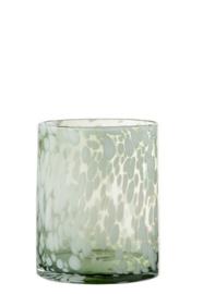 Windlicht of vaas van dik glas, Groen/Wit gespikkeld - Small