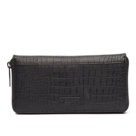 Natural Bag - Luxe Wallet - Croco - Zwart