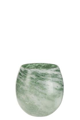 Vaas rond, dik glas, groen wit - Small