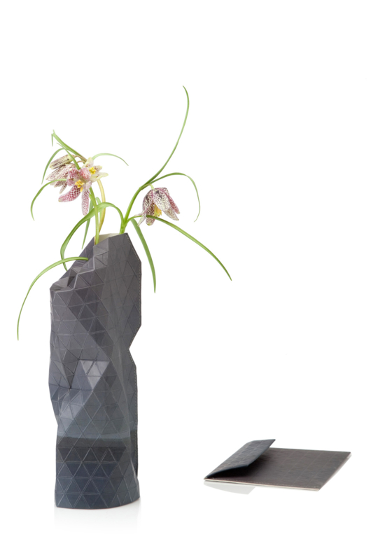 Paper Vase Cover - Watercolor Grey (Small)