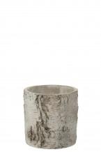 Bloempot rond berk cement grijs (Large)
