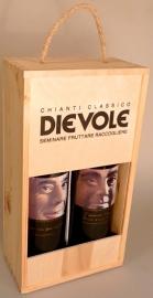 Dievole draagkist met 2 flessen Rinascimento