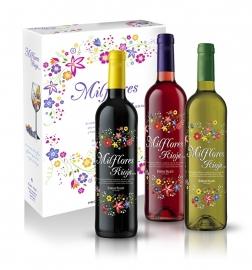 Milflores Rioja draagdoos rood, wit en rose