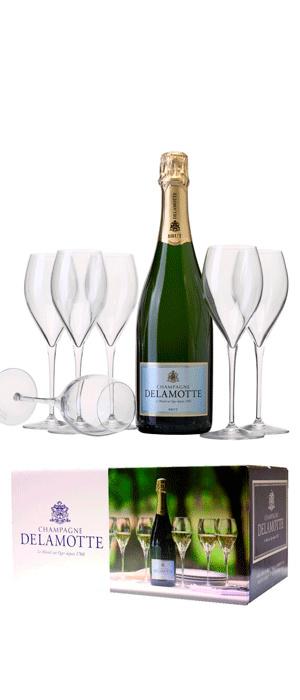 6 flessen Delamotte Brut met 6 gratis Delamotte champagneglazen.