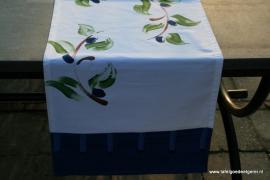 tafelloper nautical blue & white olive