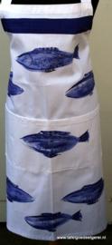 Schort vissen blauw wit