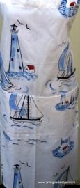 Schort vuurtoren bootjes blauw wit