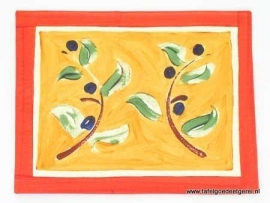 Placemat terracotta & seed olive