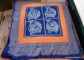 Kussenhoes parelhoen blauw oranje