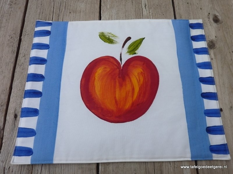 Placemat apple white on seablue