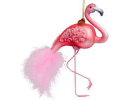 Vondels Ornament glas roze flamingo