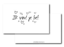 "Winkeltje van Anne | Minikaartje ""Ik vind je lief"""
