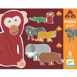 Djeco Giant Puzzle - Henri & ses amis   Stapel puzzel Henri en zijn vrienden