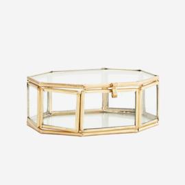 Madam Stotlz Octagonal glass box gold | achthoekige glasbox goud