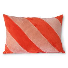 HKliving |Striped velvet cushion red/pink (40x60)