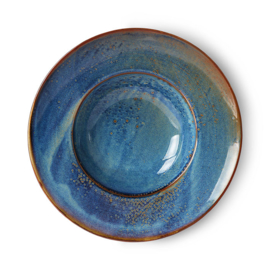 HKliving Home Chef ceramics: pasta plate rustic blue
