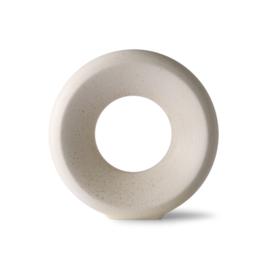 HKlving  Ceramic circle vase M white speckled