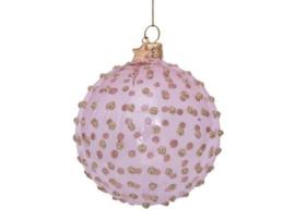Vondels Kerstbal glas roze transparant met gouden glitter stippen