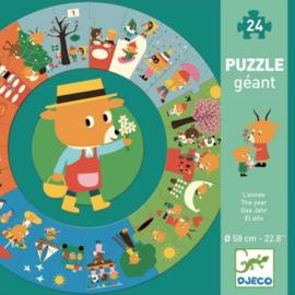 """Djeco Giant Puzzle The Year   Reuzenpuzzel """"Het jaar"""" 3+"""