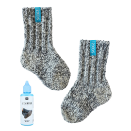 Soxs Baby Litlle Blue, Grey + vloeibare blauwe Latex anti-slip | maat 19-29
