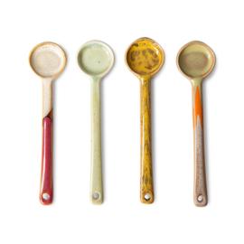 HKliving | 70s ceramics: spoons m (set of 4) | Koffielepels maat m set van 4