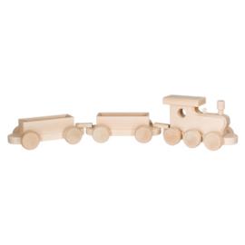 Houten Trein Locomotief met 2 wagons