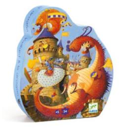 Djeco - Silhouette puzzle - Vaillant et les dragons - 54 pcs
