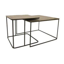 HKliving metal/brass coffee table set of 2