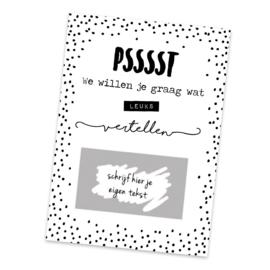 Kraskaart - DIY Psssst We willen je graag wat leuks vertellen